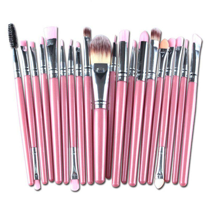 Practical Multifunction 20 Pcs Plastic Handle Nylon Makeup Brushes Set - PINK