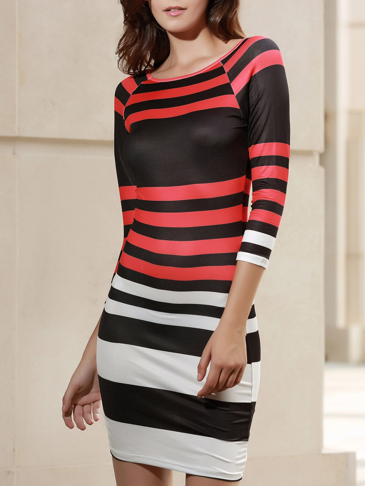Preppy Style Boat Neck 3/4 Sleeve Striped Bodycon Mini Dress For Women stylish boat neck cap sleeve striped dress for women