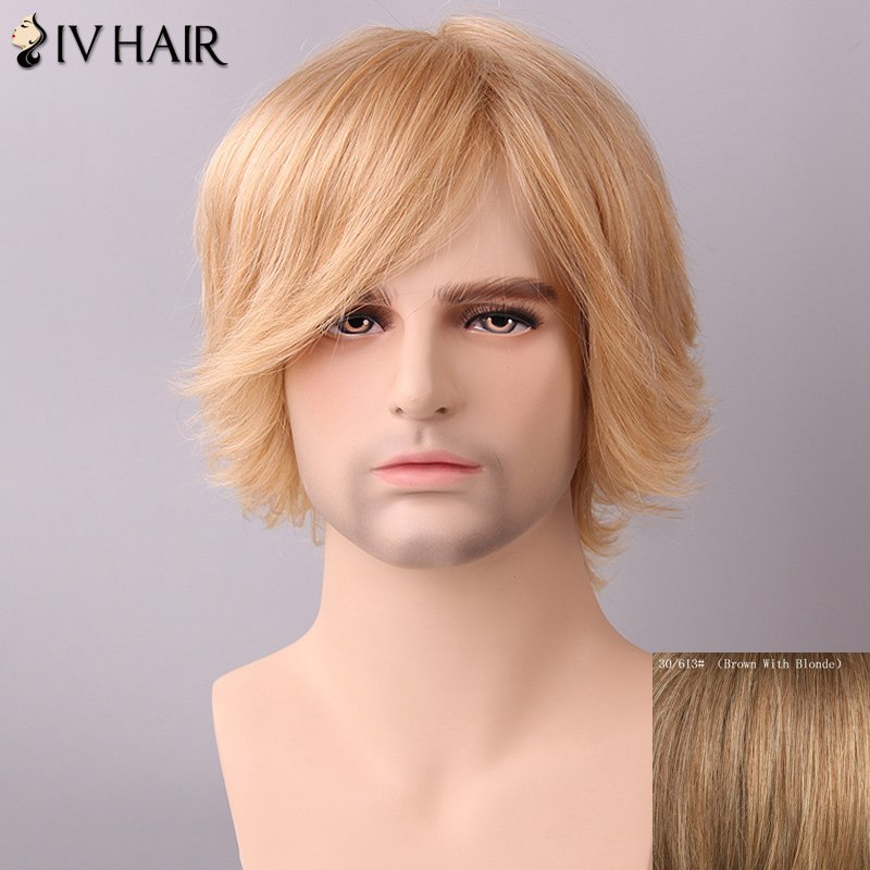 Fluffy Men's Side Bang Siv Hair Human Hair Wig - BROWN/BLONDE