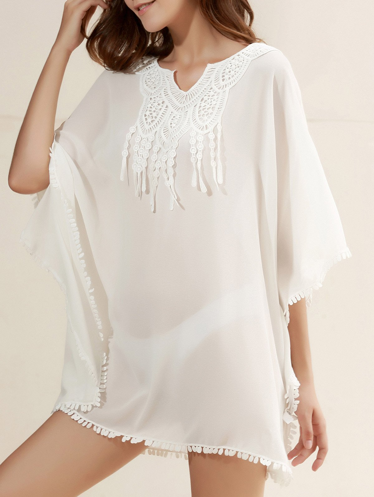 Sexy 3/4 Sleeve Scoop Neck See-Through Chiffon Women's Cover-Up - WHITE ONE SIZE(FIT SIZE XS TO M)