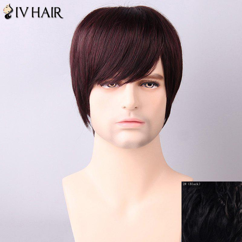 Straight Men's Side Bang Siv Hair Human Hair Wig - BLACK