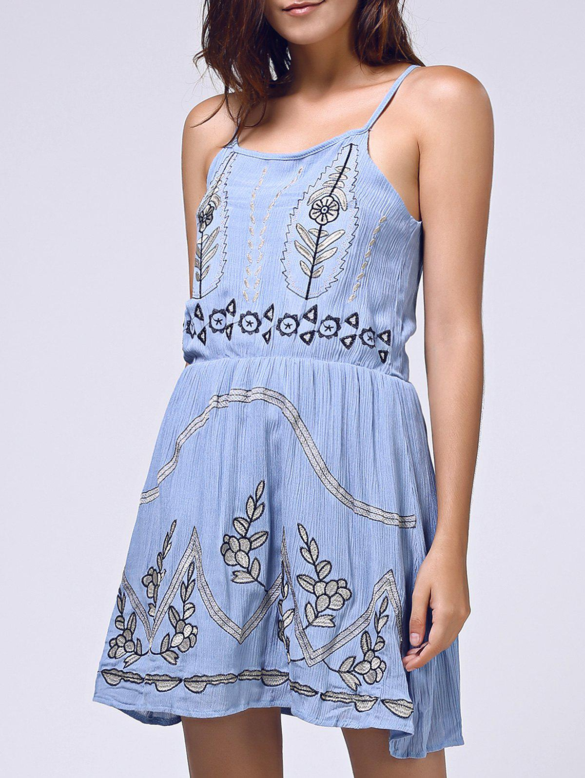 Ethnic Style Women's Spaghetti Straps Embroidered Dress - ICE BLUE ONE SIZE(FIT SIZE XS TO M)