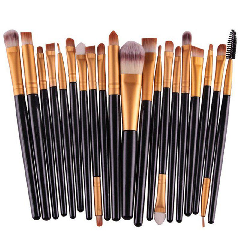 Practical 20 Pcs Plastic Handle Nylon Makeup Brushes Set - BLACK