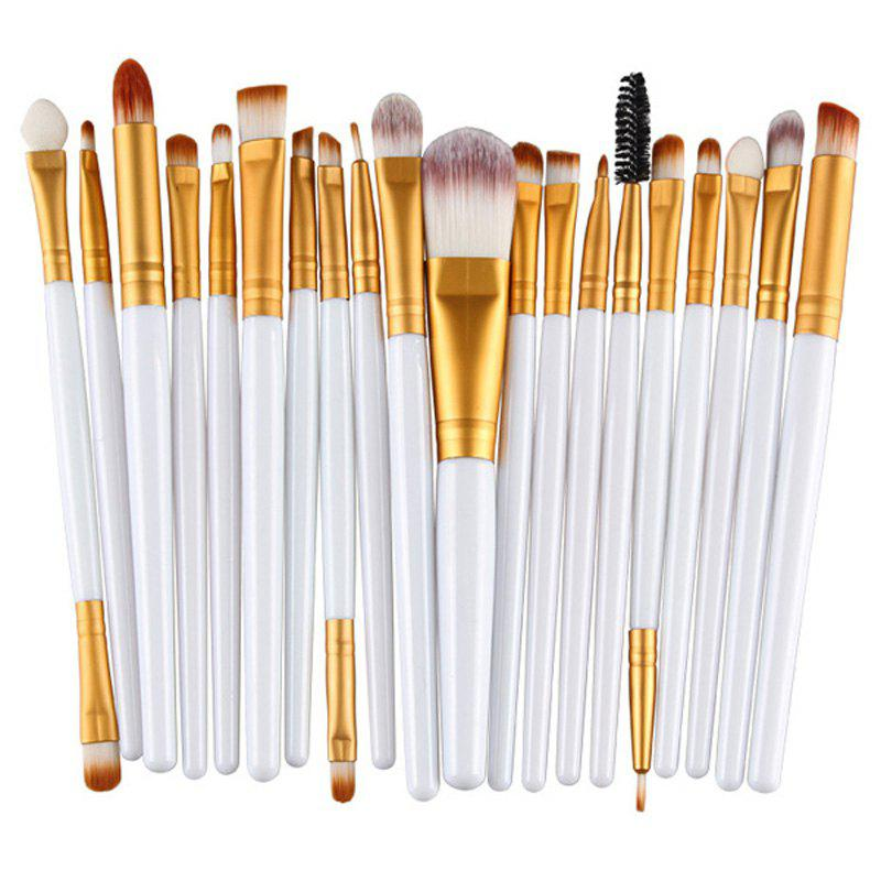 Practical 20 Pcs Plastic Handle Nylon Makeup Brushes Set - WHITE