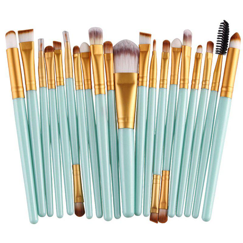 Practical 20 Pcs Plastic Handle Nylon Makeup Brushes Set - GREEN