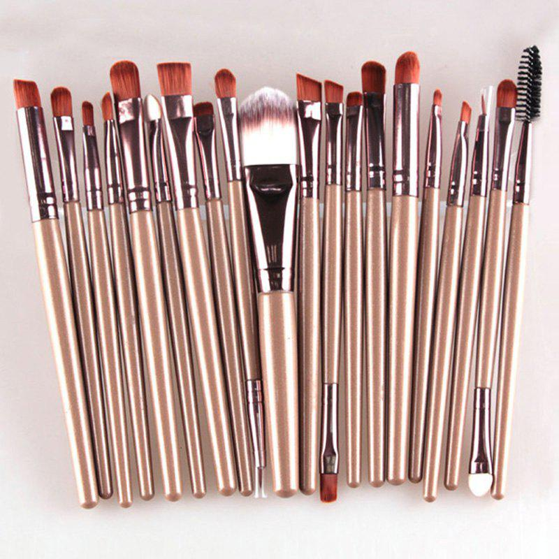 Practical 20 Pcs Multifunction Long Plastic Handle Nylon Makeup Brushes Set - COFFEE
