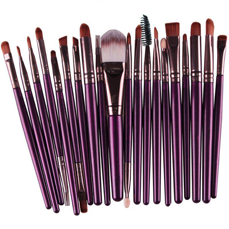 Practical 20 Pcs Multifunction Long Plastic Handle Nylon Makeup Brushes Set - PURPLE