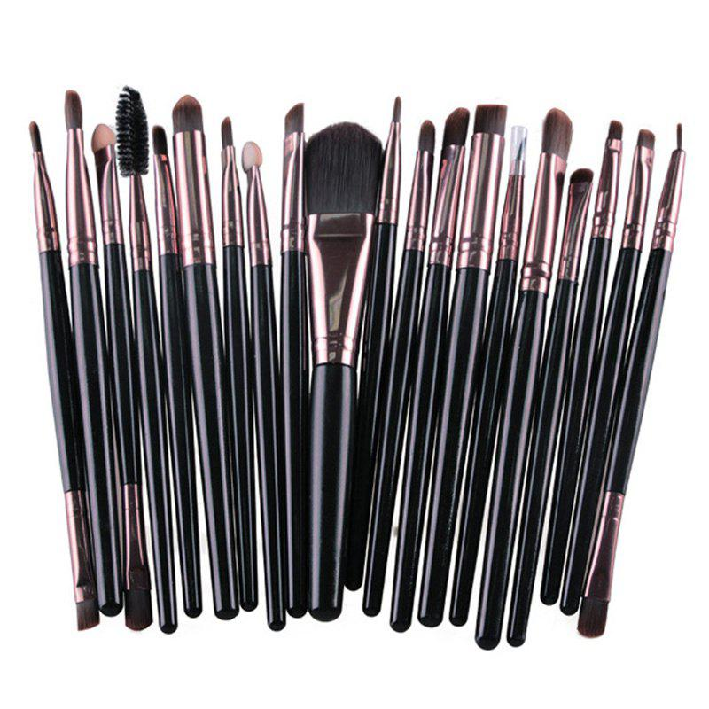 Practical 20 Pcs Multifunction Long Plastic Handle Nylon Makeup Brushes Set - BLACK