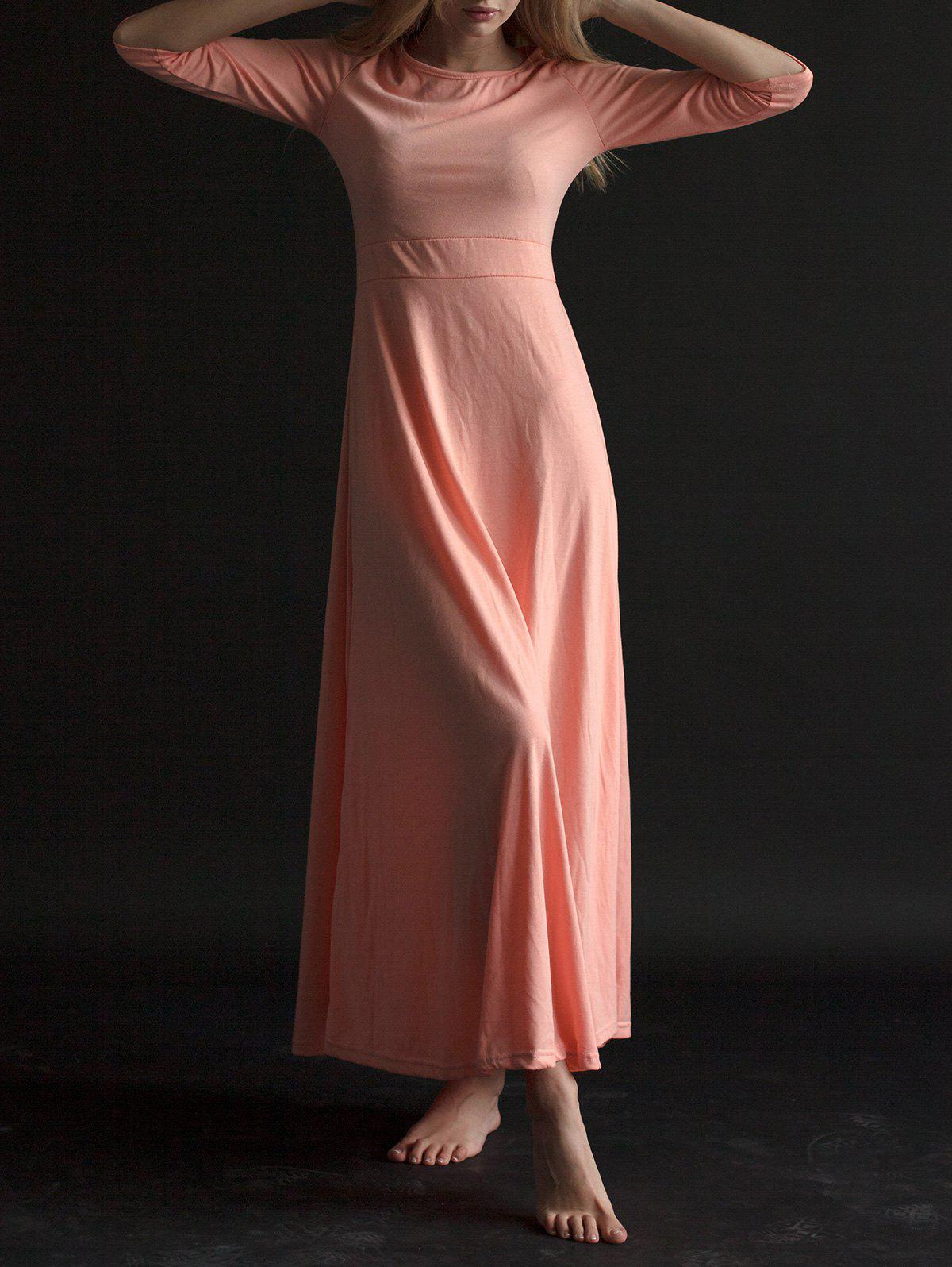Round Neck 3/4 Sleeve Pure Color Dress For Women - PINK L