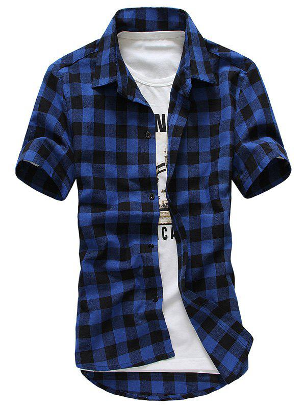 Slim Fit Turn-Down Collar Checked Printed Short Sleeve Men's Shirt - DEEP BLUE L