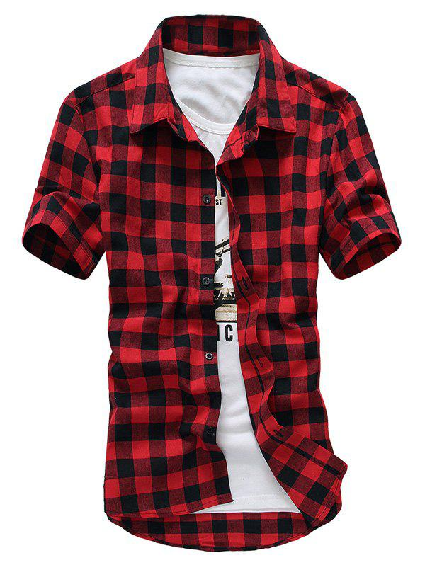 Slim Fit Turn-Down Collar Checked Printed Short Sleeve Men's Shirt - RED L