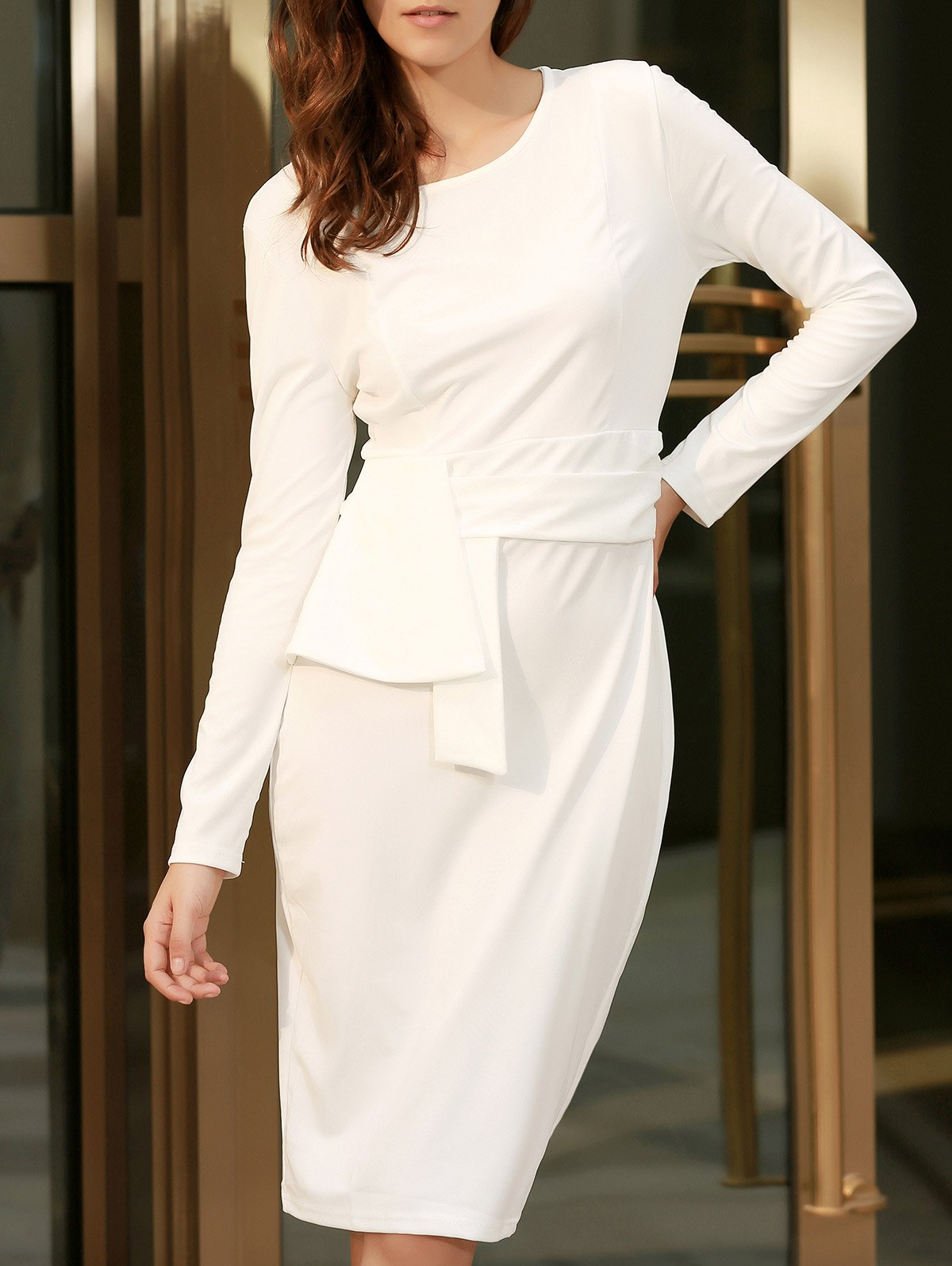 Chic Round Collar Long Sleeve Bodycon Pure Color Women's Dress