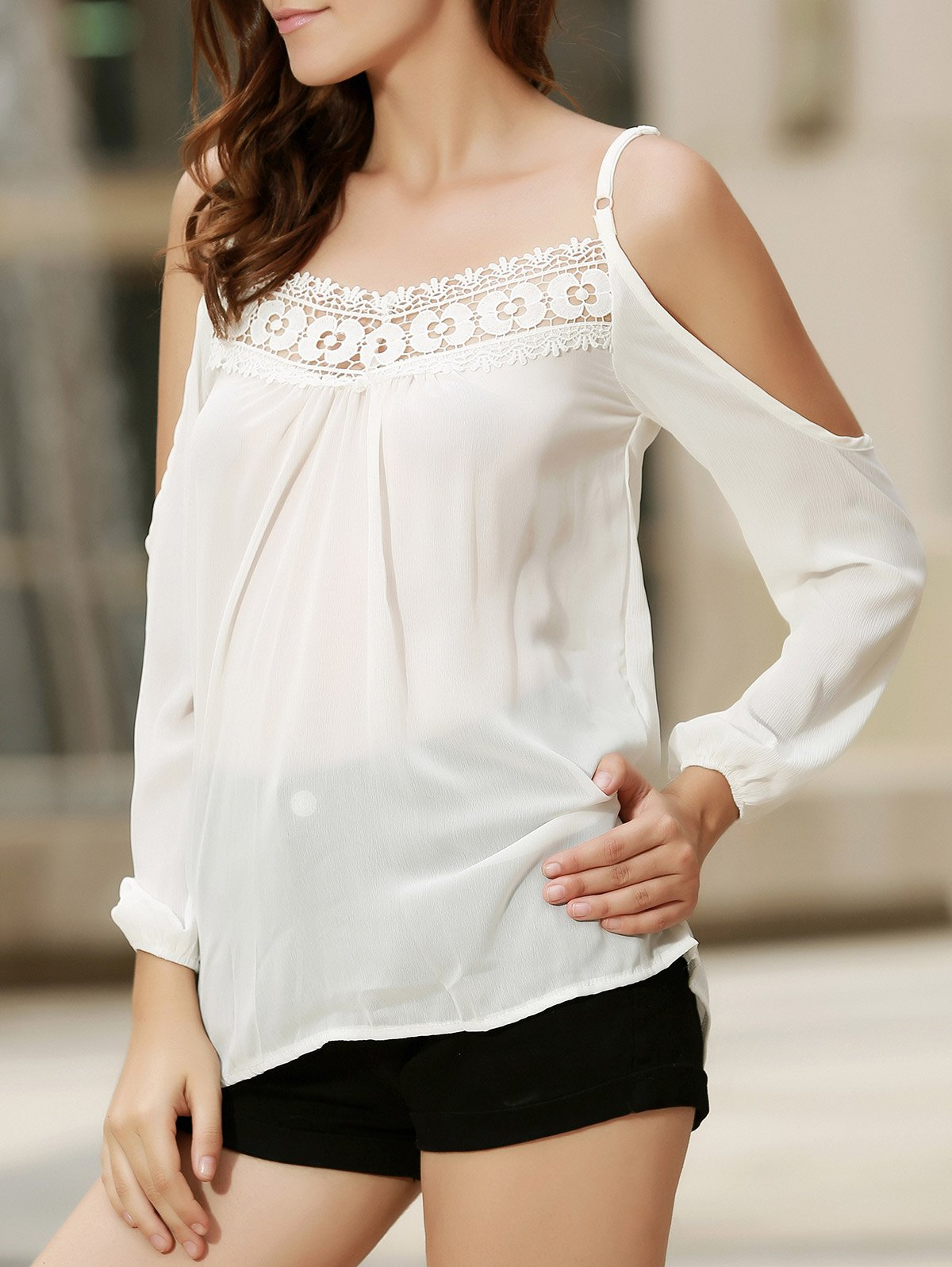 Sexy Women's Strappy Hollow Out Lace Splicing  Long Sleeve Blouse - WHITE L