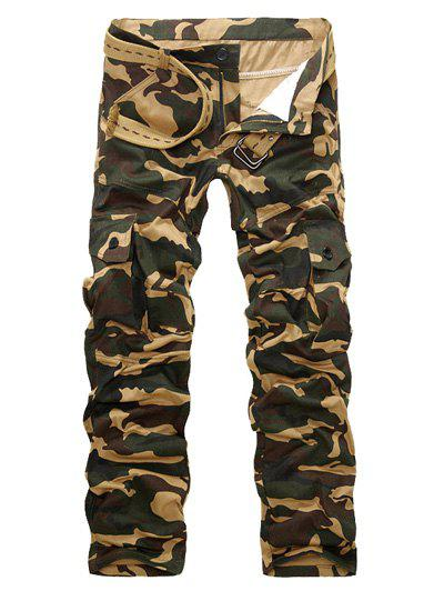 Camo Multi-Pockets Zipper Fly Long Pants - APRICOT L
