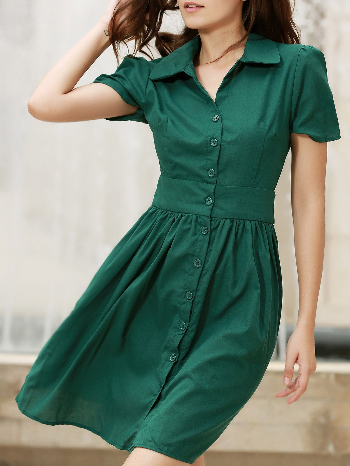 Vintage Turn-Down Collar Short Sleeve Lace-Up Single-Breasted Women's Dress - L GREEN