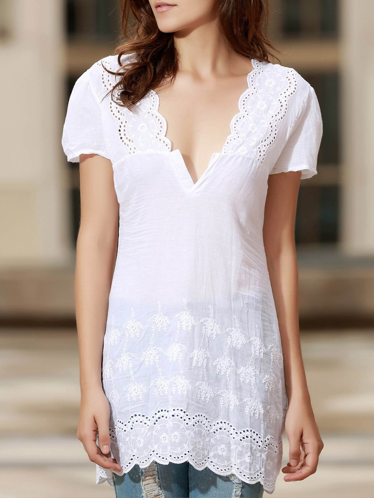Sexy Plunging Neck Short Sleeve Solid Color Laciness Women's Dress - WHITE M
