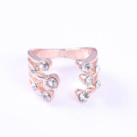 Delicate Rhinestoned Cuff Ring For Women