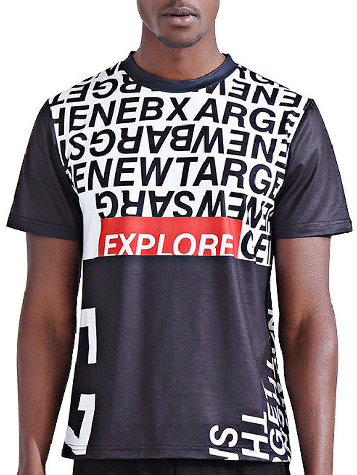 Stylish 3D Color Block Letters Print Round Neck Short Sleeve Men's T-Shirt - COLORMIX M