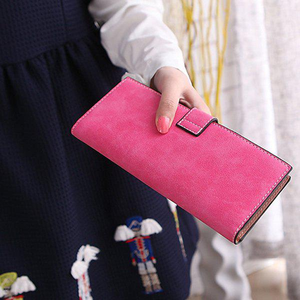 Retro Snap Button and Solid Color Design Women's Clutch Wallet - ROSE