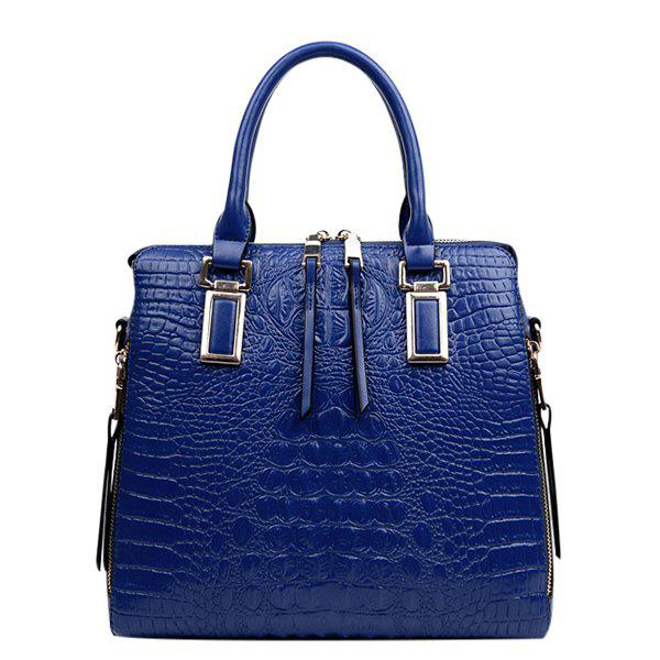 Stylish Metal and Embossed Design Women's Tote Bag - BLUE