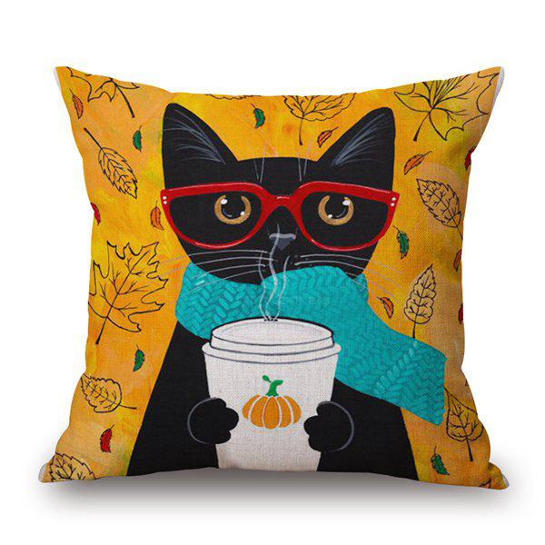 Sweet Cartoon Cats Painting Pattern Cotton and Linen Pillow Case(Without Pillow Inner) - COLORMIX