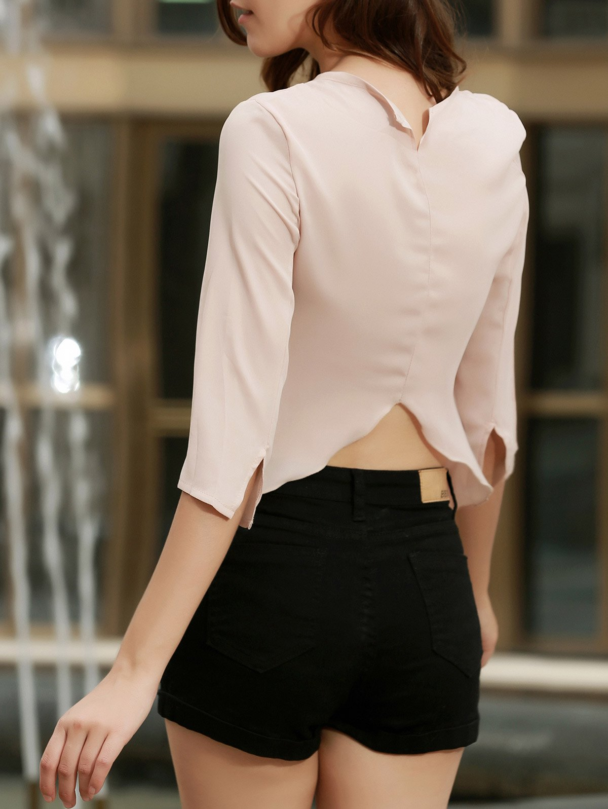 Chic Round Collar Pure Color Furcal Cut Out Womens T-ShirtWomen<br><br><br>Size: S<br>Color: APRICOT