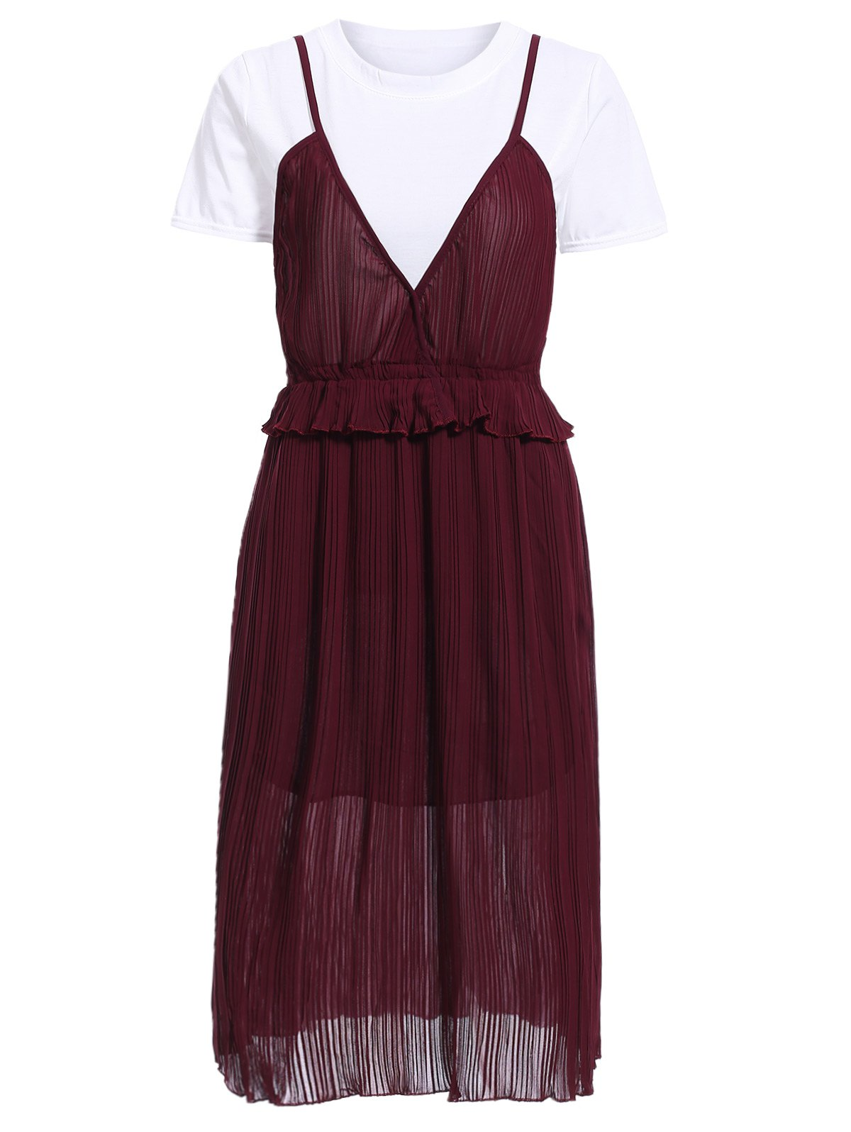 Stunning Women's Solid Color T-Shirt and Pleated Spaghetti Straps Dress Set women s stunning solid color t shirt and pleated spaghetti straps dress set
