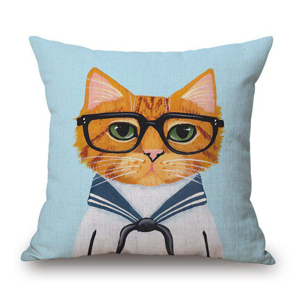 Cartoon Cute Cats Painting Pattern Cotton and Linen Pillow Case(Without Pillow Inner) - COLORMIX