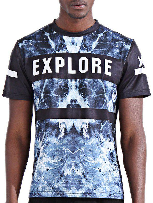 Men's Abstract 3D Letter Print Round Neck Short Sleeves T-Shirt - XL COLORMIX