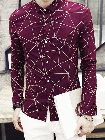 Fashion Turn-Down Collar Irregular Geometric Printed Long Sleeve Men's Shirt - RED L