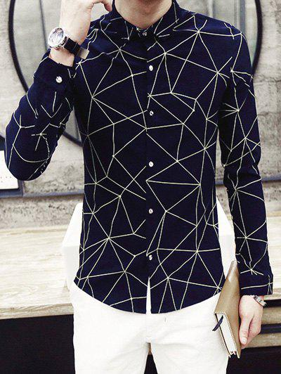 Fashion Turn-Down Collar Irregular Geometric Printed Long Sleeve Men's Shirt - BLUE XL