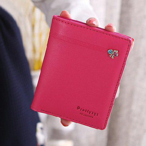 Sweet Solid Color and Snap Button Design Women's Clutch Wallet - ROSE