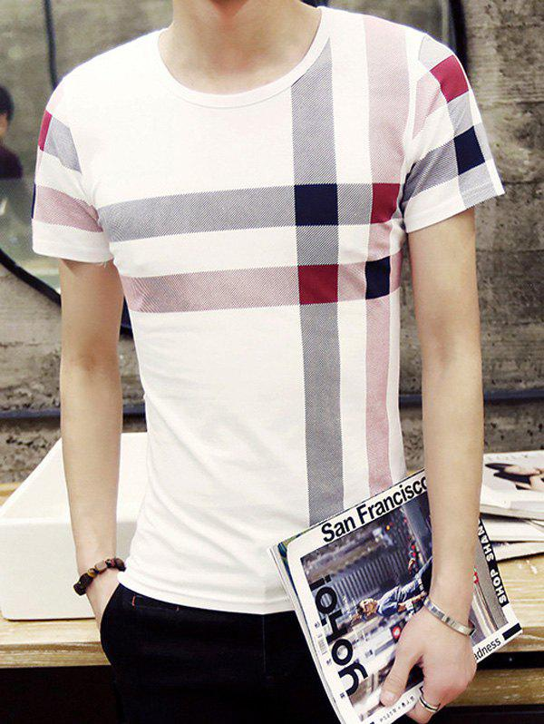 Stylish Round Neck Checked Pattern Short Sleeve Men's T-Shirt