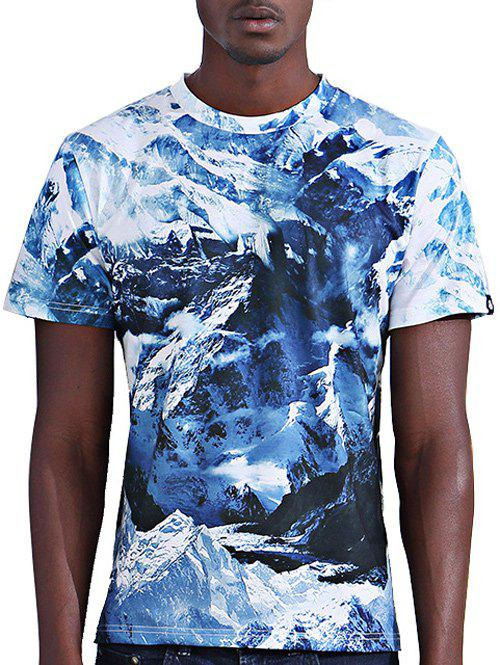 Men's Abstract 3D Iceberg Print Round Neck Short Sleeves T-Shirt - 2XL COLORMIX