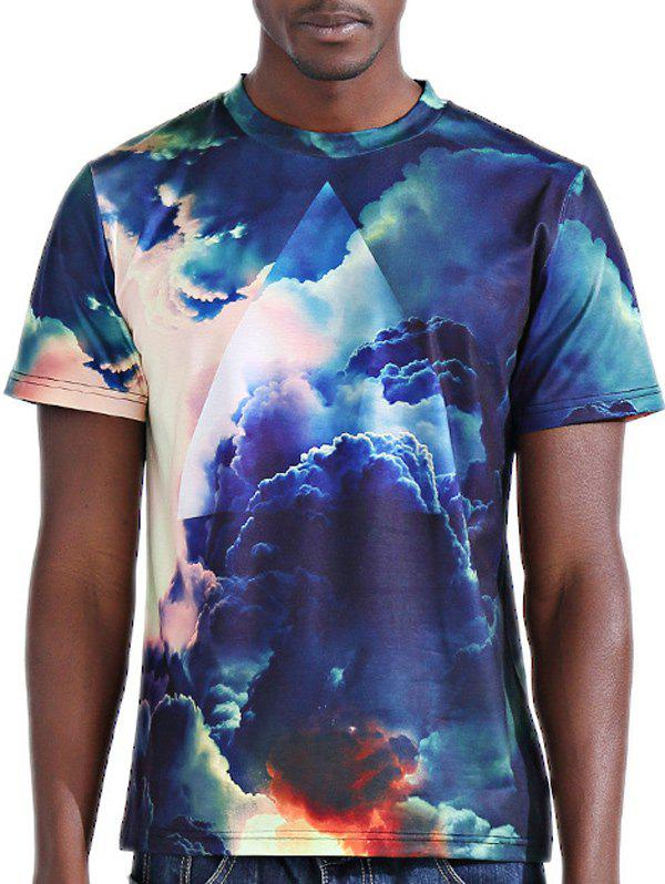 Men's 3D Sky Printed Round Neck Short Sleeves T-Shirt - COLORMIX 2XL