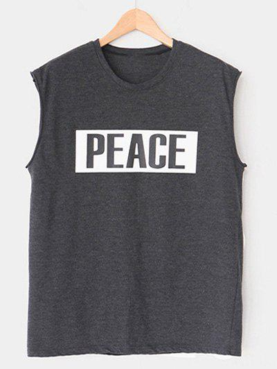 Modish Round Neck Letter Printed Tank Top For Men - DEEP GRAY M