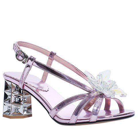Graceful Crystal Flower and Chunky Heel Design Women's Sandals - LIGHT PURPLE 38