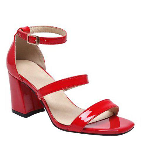 Concise Chunky Heel and Patent Leather Design Women's Sandals - RED 39