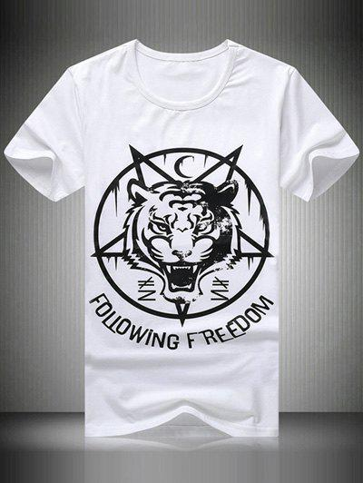 Plus Size Round Neck Letter Tiger Printed Short Sleeve Men's T-Shirt - WHITE L