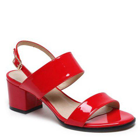 Casual Patent Leather and Chunky Heel Design Women's Sandals - RED 38