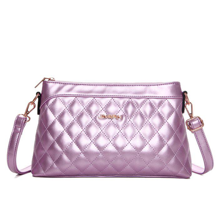 Stylish Zip and Checked Design Women's Crossbody Bag - PINK