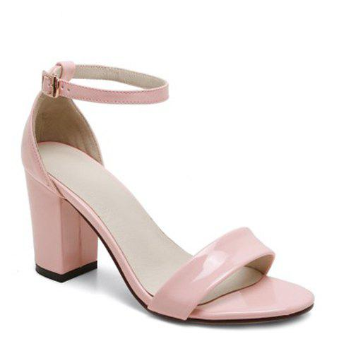 Concise Ankle Strap and Chunky Heel Design Women's Sandals - PINK 37