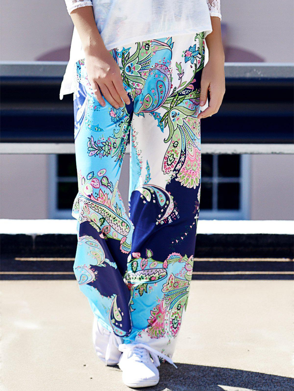 Fashionable Mid-Waisted Loose-Fitting Floral Print Women's Pants - COLORMIX S