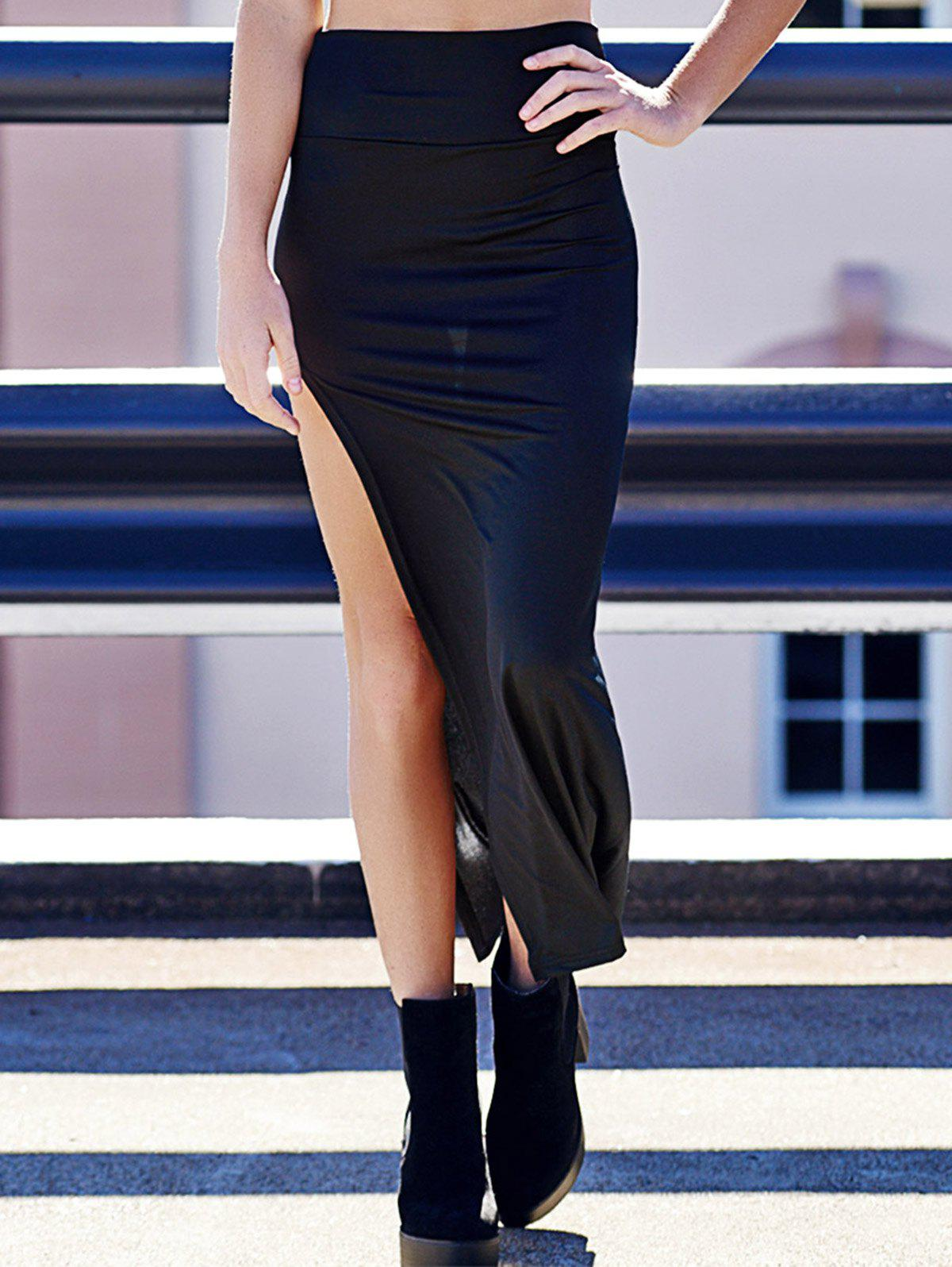 Sexy Solid Color High Slit Elastic Waist Women's Mina Skirt - ONE SIZE(FIT SIZE XS TO M) BLACK