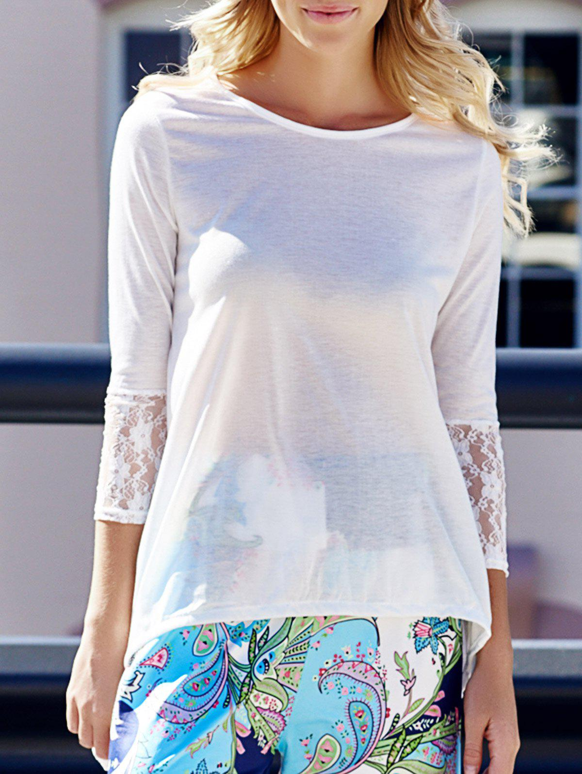 Charming Round Collar Lace Irregular Hem Women's Long Sleeve White Blouse - ONE SIZE(FIT SIZE XS TO M) WHITE
