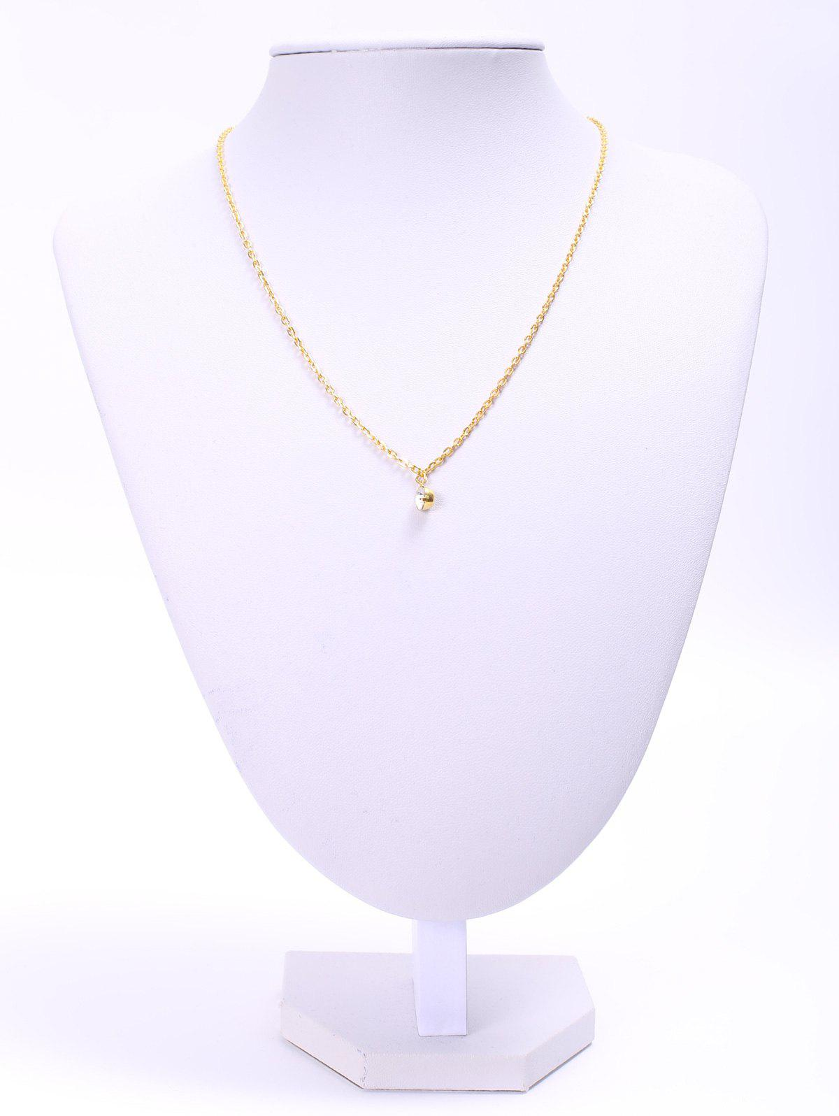 Round Rhinestone Link Chain Pendant NecklaceJewelry<br><br><br>Color: GOLDEN