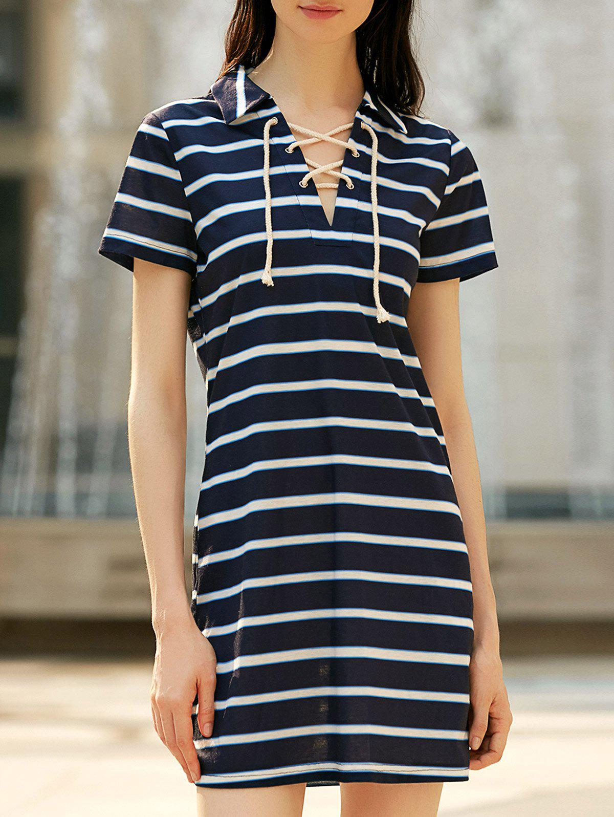 Preppy Style Striped Lace-Up Short Sleeve Dress For WomenWomen<br><br><br>Size: M<br>Color: STRIPE