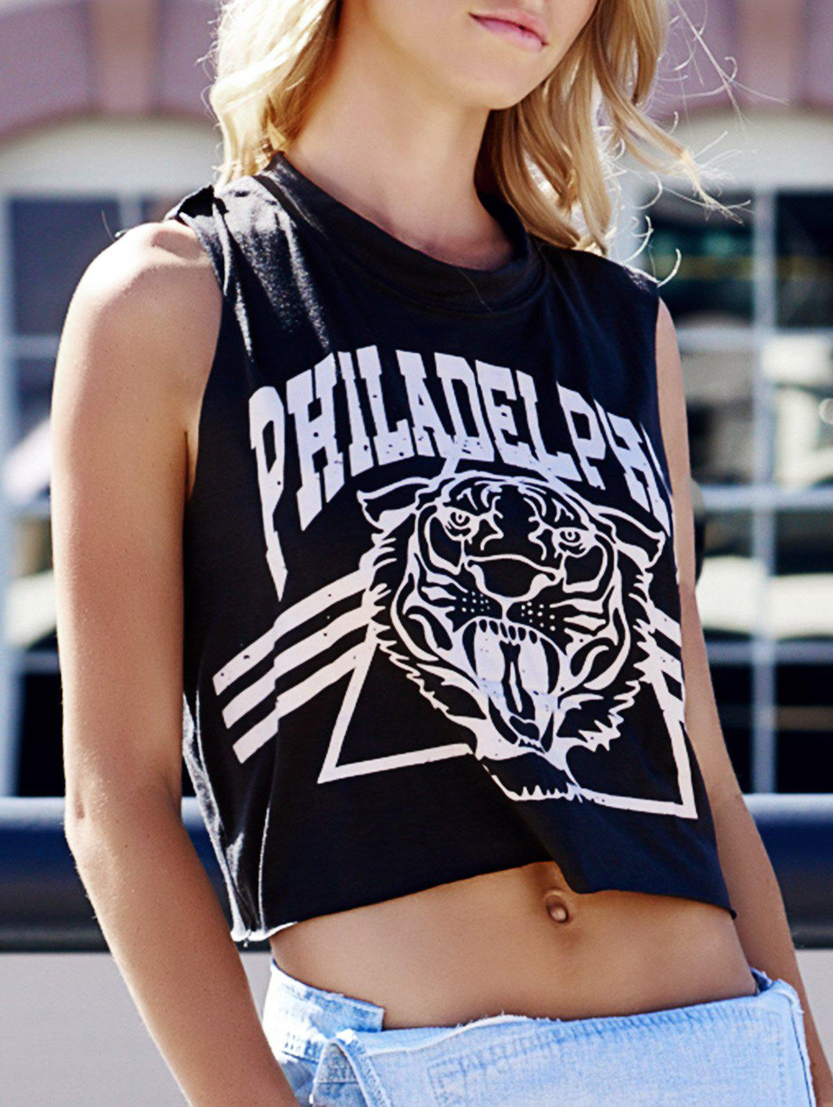 Women's Tiger and Letter Print Loose-Fitting Cotton Tank Top - DEEP GRAY ONE SIZE
