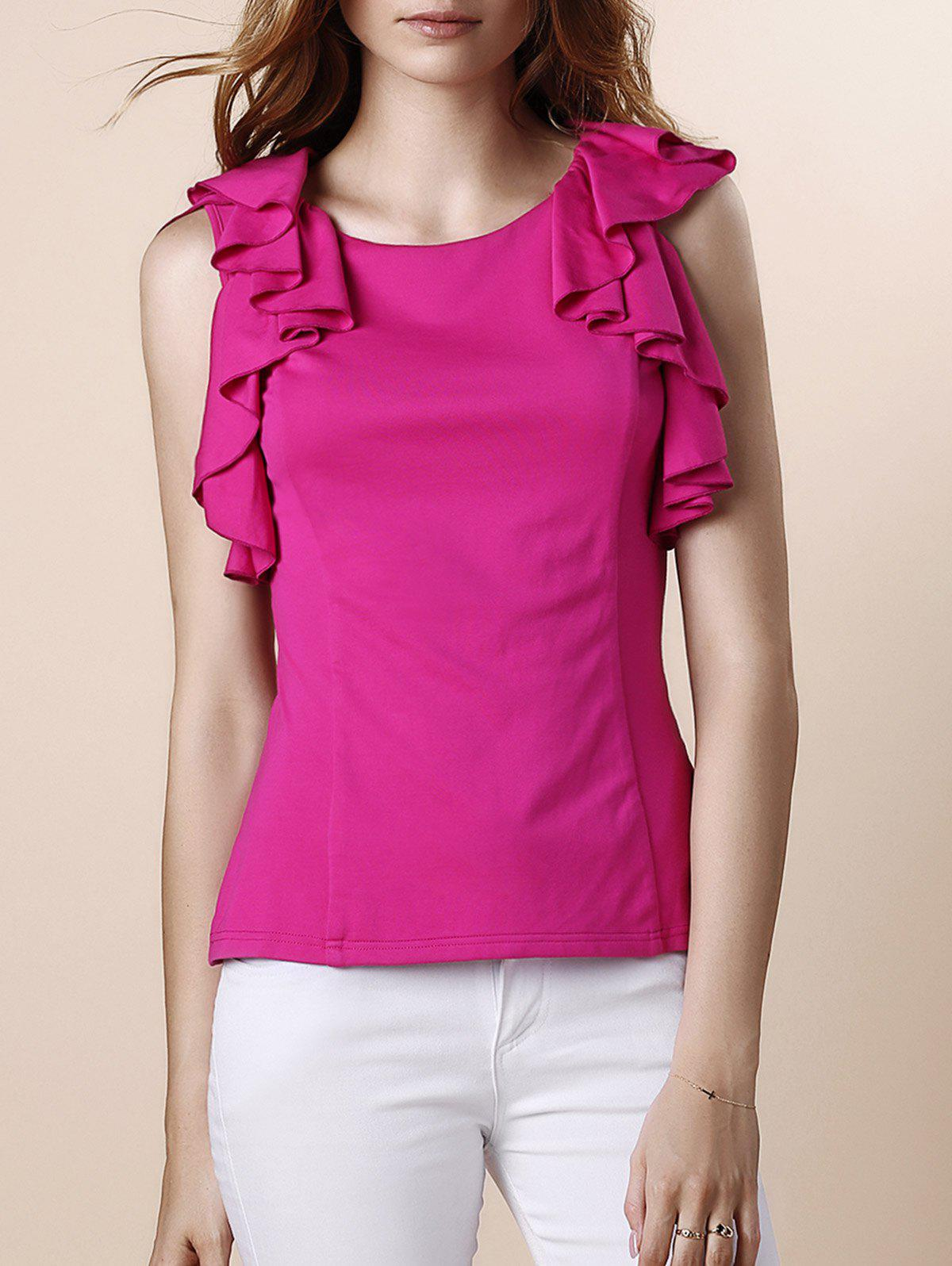 Sweet Women's Round Neck Ruffles Sleeveless Blouse - ROSE L