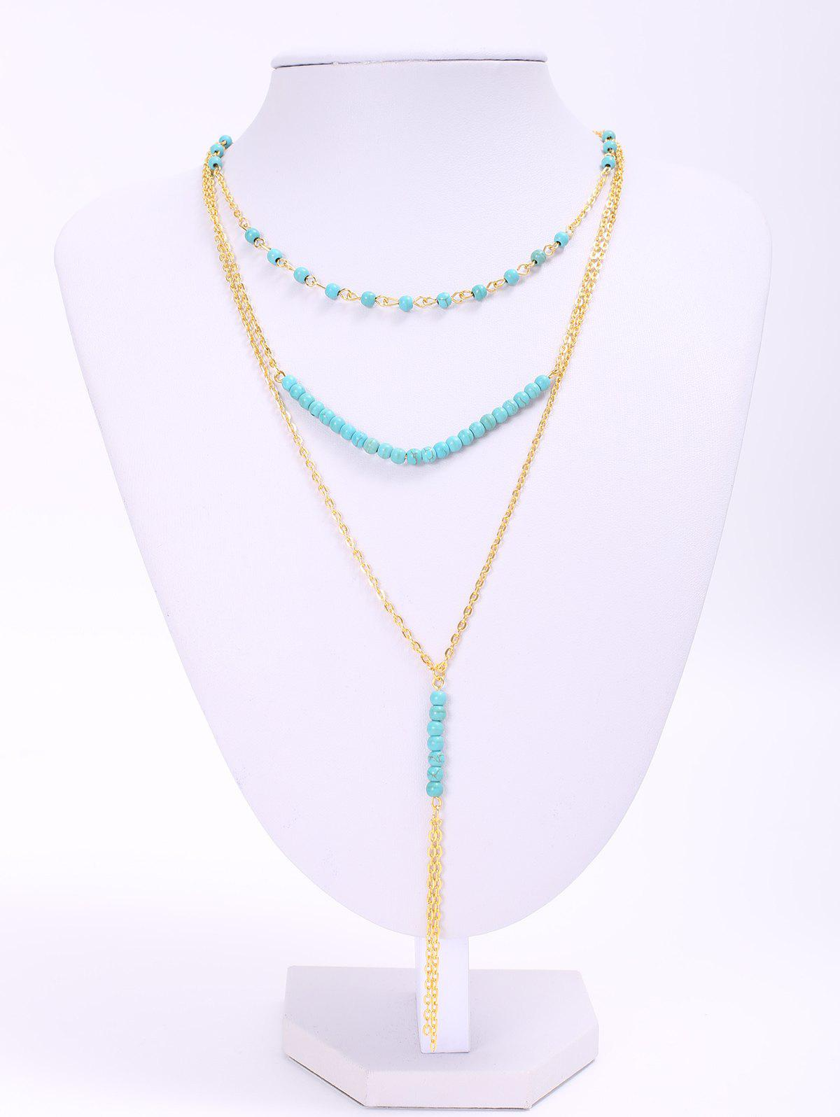 Trendy Turquoise Beads Tassel Layered Women's Necklace turquoise шорты